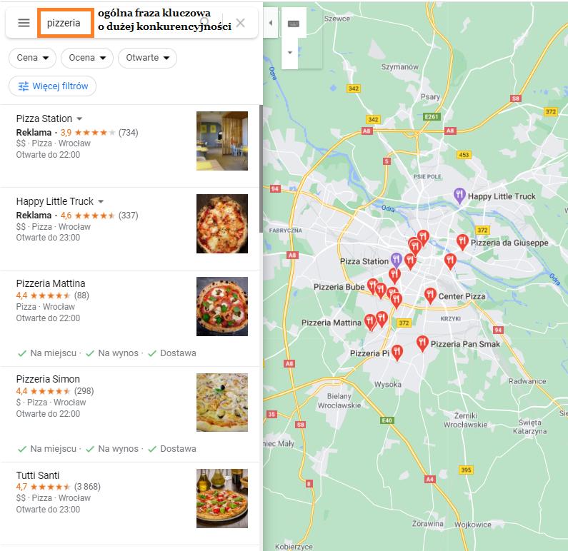 Wyszukiwanie Pizzerii w Google Maps
