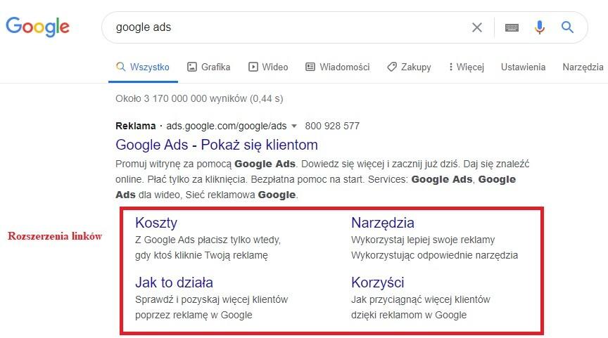 Rozszerzenia linków w kampanii Google Ads