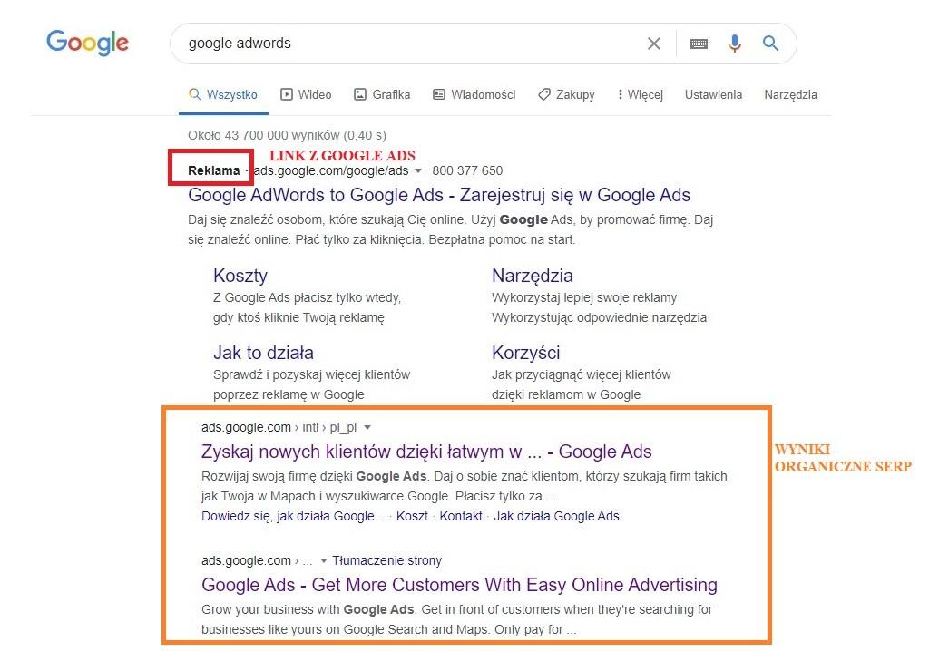 Kampania AdWords na frazę Google Ads