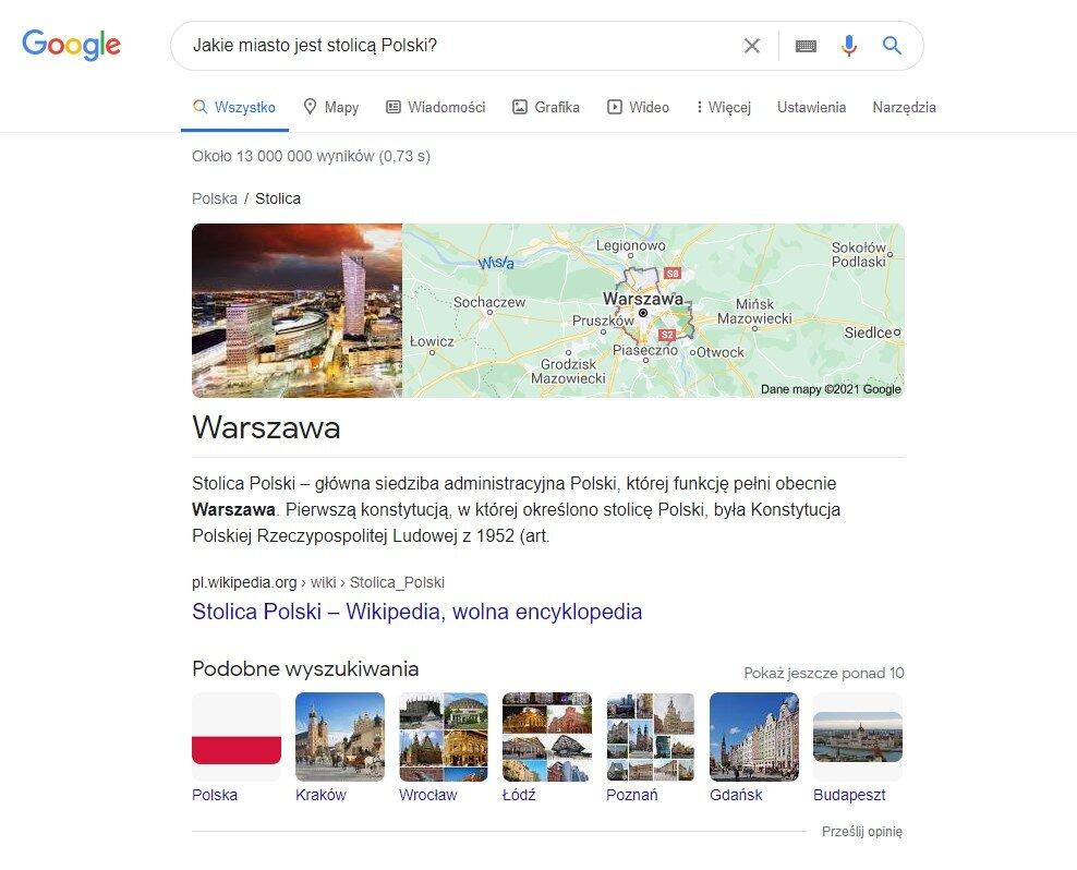 Odpowiedź na pytanie zadane w wyszukiwarce Google