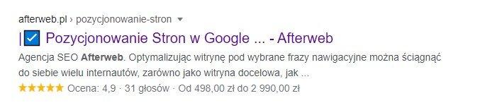 Fragmenty wzbogacone prezentowane w Google