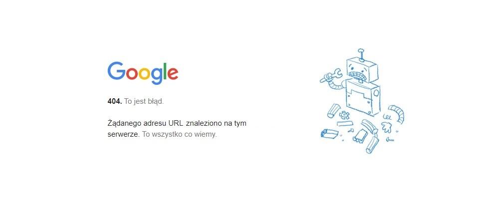 Strona błędu 404 w Google