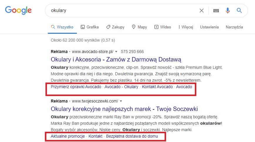 Objaśnienia w reklamach Googla AdWords