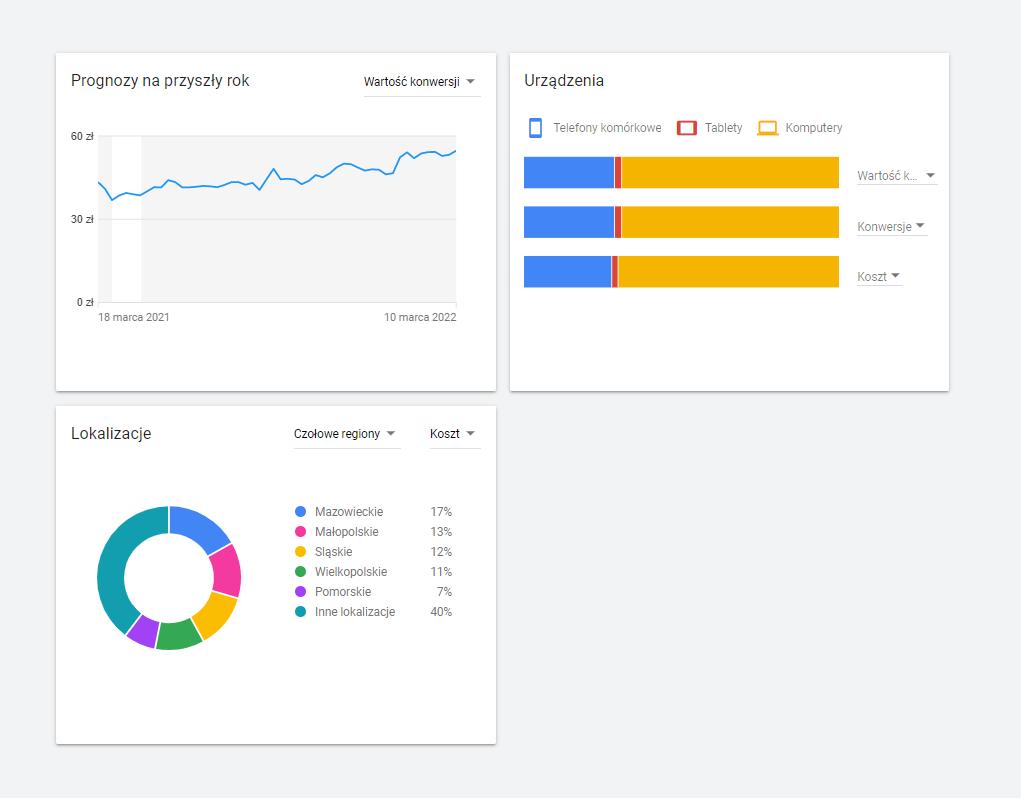 Prognozy szacowane przez Planer słów kluczowych Google