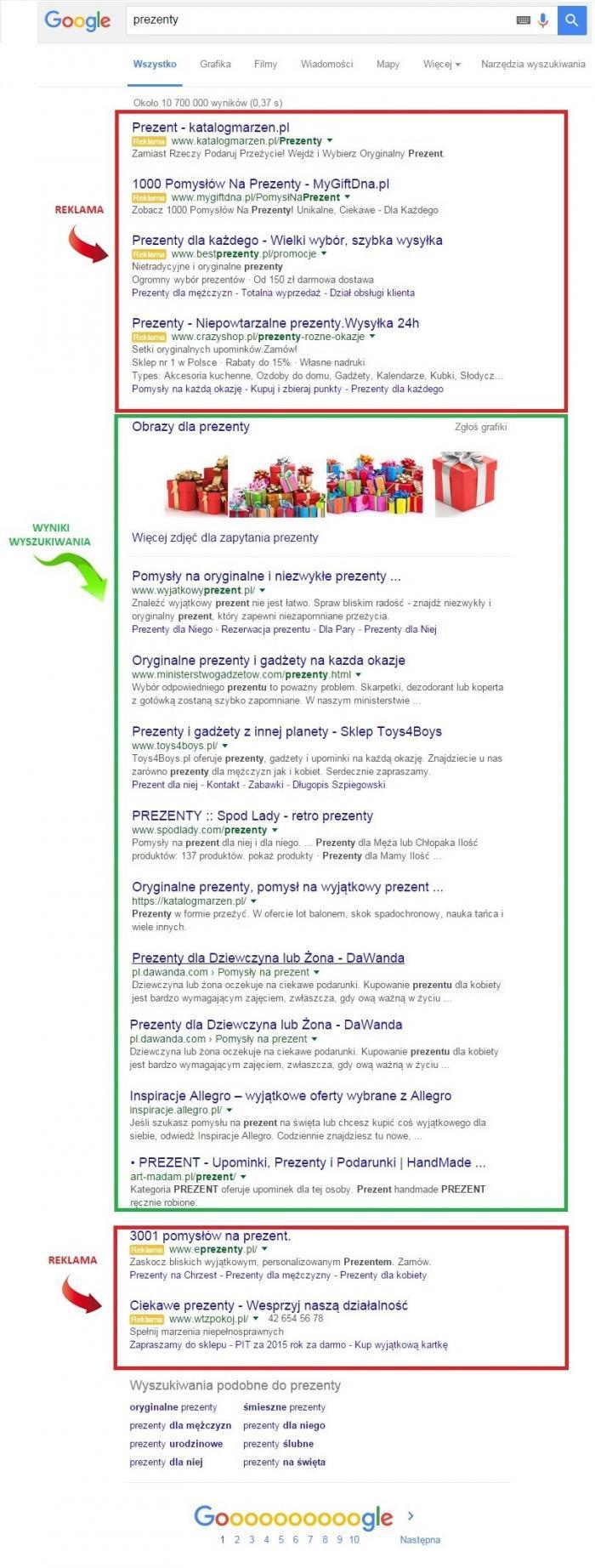 Pozycja strony Google