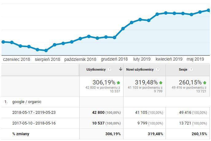 wykres analytics - skuteczne pozycjonowanie strony